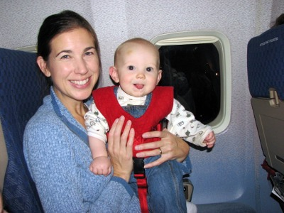 Bab B'Air flight safety vest on lap-held baby