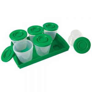 Reusable food containers lock onto the tray for storage and travel convenience