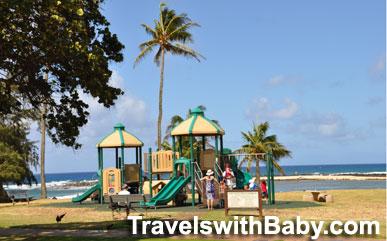 The playground at Poipu Beach Park in Kauai