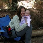 Author Shelly Rivoli camping with her first baby in the redwoods near Big Sur www.travelswithbaby.com