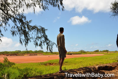 Overlooking the nearby salt ponds in Kauai