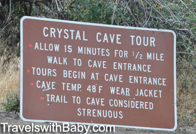 Sign at Crystal Cave in Sequoia National Park