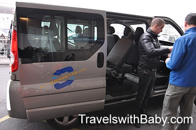 Paris airport shuttle with car seat or booster