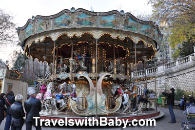 Two-story carousel at Montmartre in Paris