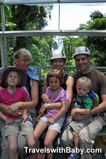 Family on sky tram in Costa Rica