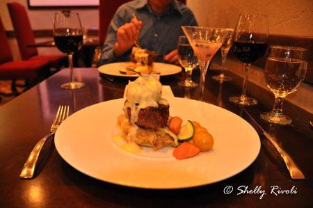 """Filet Oscar"" at Embers restaurant, Tenaya Lodge"