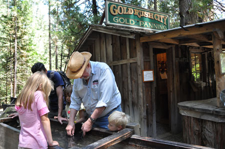 Getting a personalized demonstration of gold-panning--for real.