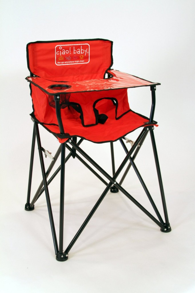 The roadtrip-ready Ciao! Baby portable high chair weighs in at just 8 lbs. and packs into its own travel bag.