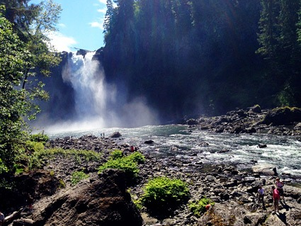 Snoqualmie Falls is an ideal day trip for those visiting Seattle with a baby, toddler, or little kids. Photo credit: Keryn Means