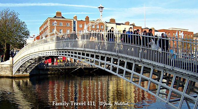 Dublin's landmark Ha'Penny Bridge, itself a popular family destination in Ireland.
